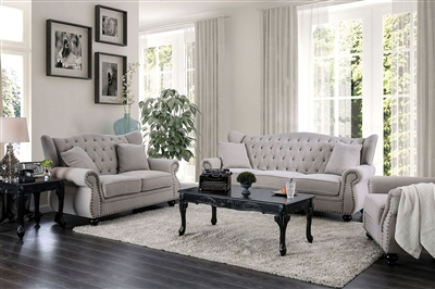 Ewloe 2 Piece Sofa Set in Light Gray by Furniture of America - FOA-CM6572GY