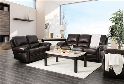 Edmore 2 Piece Sofa Set in Brown by Furniture of America - FOA-CM6586