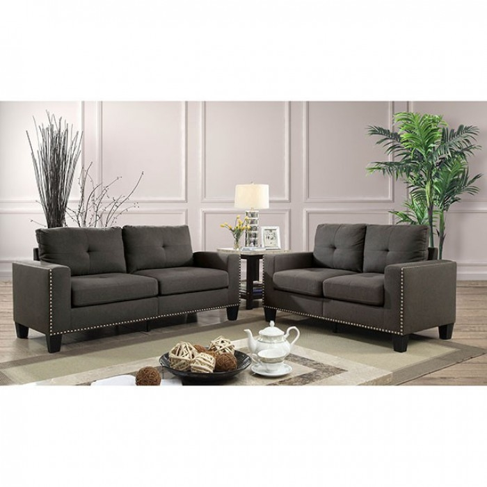 Attwell 2 Piece Sofa Set in Gray by Furniture of America - FOA-CM6594