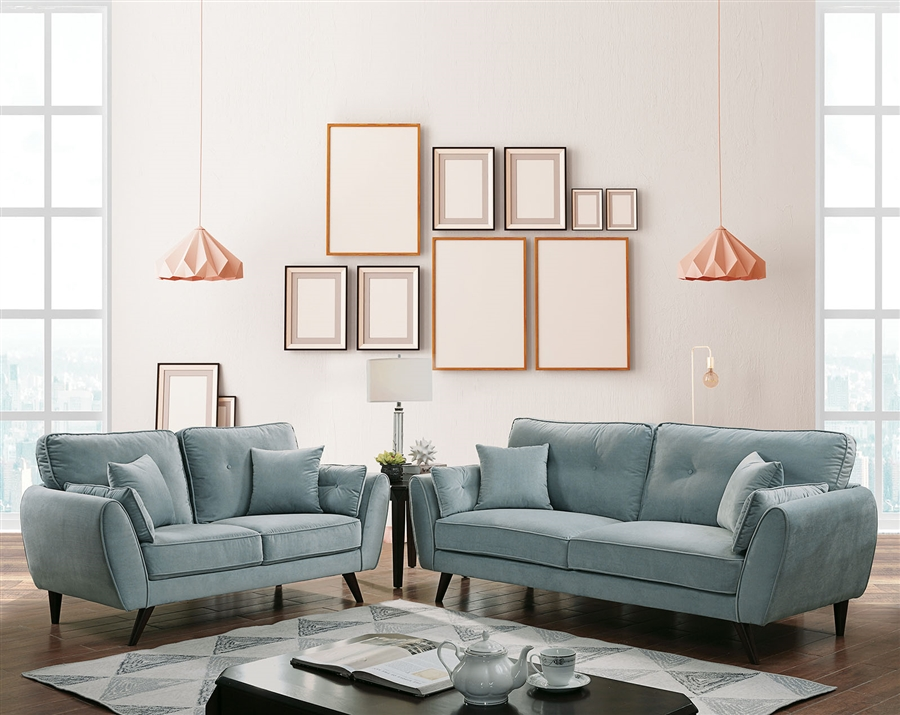 Prime Phillipa 2 Piece Sofa Set In Light Teal By Furniture Of America Foa Cm6610 Inzonedesignstudio Interior Chair Design Inzonedesignstudiocom