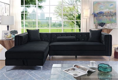 Amie Sectional Sofa in Black by Furniture of America - FOA-CM6652BK