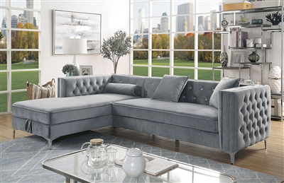 Amie Sectional Sofa in Gray by Furniture of America - FOA-CM6652GY