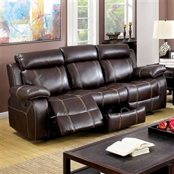 Chancellor Recliner Sofa in Brown by Furniture of America - FOA-CM6788-SF