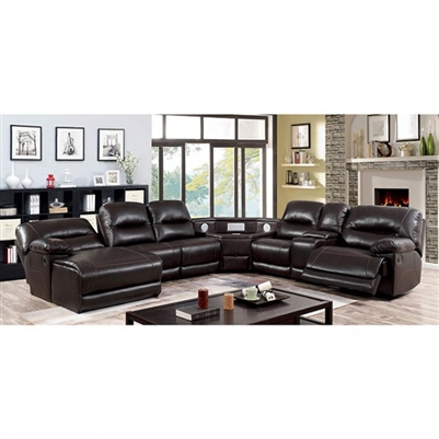 Glasgow Sectional Sofa w/ Speaker Wedge in Brown by Furniture of America - FOA-CM6822BR-TSP-SECT