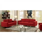 Kallie 2 Piece Sofa Set in Red by Furniture of America - FOA-CM6848