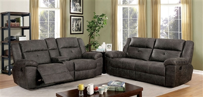Chichester 2 Piece Recliner Sofa Set in Dark Brown by Furniture of America - FOA-CM6943