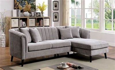 Goodwick Sectional Sofa in Light Gray by Furniture of America - FOA-CM6947