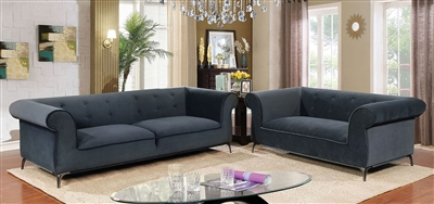 Gresford 2 Piece Sofa Set in Gray by Furniture of America - FOA-CM6952