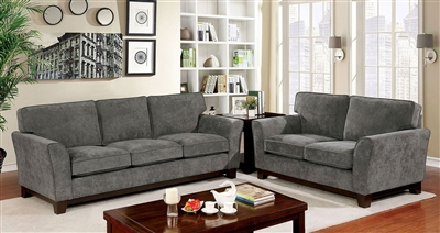 Caldicot 2 Piece Sofa Set in Gray by Furniture of America - FOA-CM6954GY