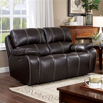 Eppi Power Love Seat in Dark Brown by Furniture of America - FOA-CM6973-LV
