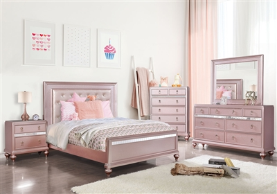 Ariston 6 Piece Bedroom Set in Rose Pink Finish by Furniture of America - FOA-CM7170RG