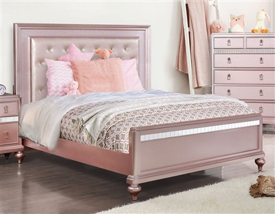 Ariston Bed in Rose Pink Finish by Furniture of America - FOA-CM7170RG-B