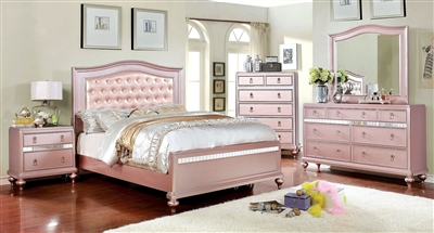 Ariston 6 Piece Bedroom Set in Rose Gold Finish by Furniture of America - FOA-CM7171RG