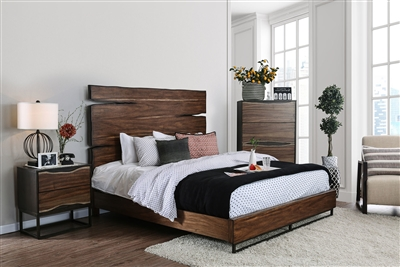 Fulton Bed in Dark Oak/Dark Walnut Finish by Furniture of America - FOA-CM7363-B