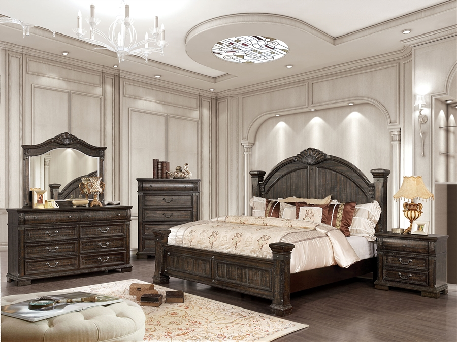Genevieve 6 Piece Bedroom Set In Distressed Walnut Finish By Furniture Of America Foa Cm7428