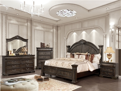 Genevieve 6 Piece Bedroom Set in Distressed Walnut Finish by Furniture of America - FOA-CM7428