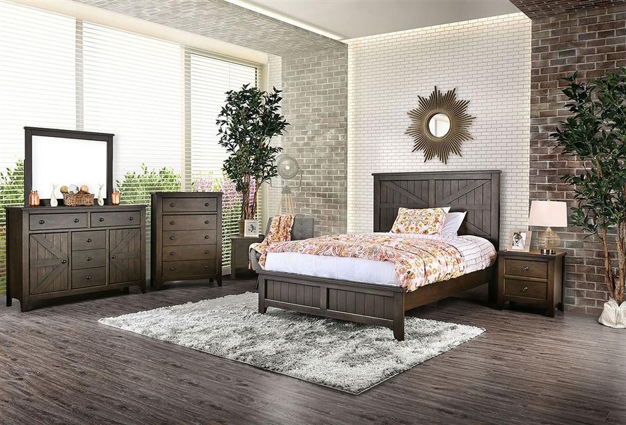Westhope 6 Piece Bedroom Set in Dark Walnut Finish by Furniture of America  - FOA-CM7523