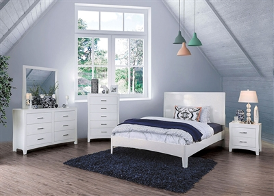 Deanne 6 Piece Bedroom Set in White Finish by Furniture of America - FOA-CM7527WH
