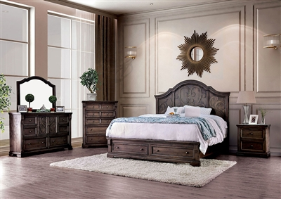 Amadora 6 Piece Bedroom Set in Walnut Finish by Furniture of America - FOA-CM7533