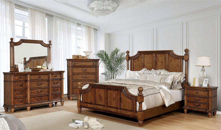 Mantador 6 Piece Bedroom Set in Light Oak Finish by Furniture of America -  FOA-CM7542