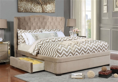 Aoife Bed in Taupe Finish by Furniture of America - FOA-CM7544-B