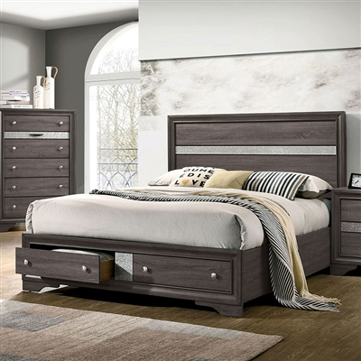 Chrissy Bed in Gray Finish by Furniture of America - FOA-CM7552GY-B
