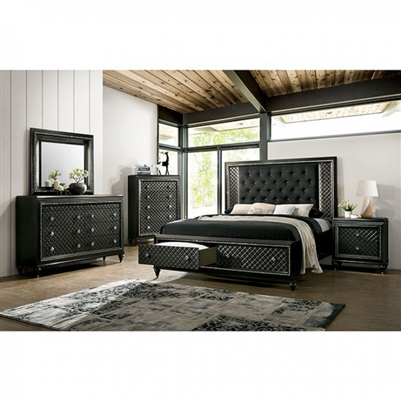 Demetria 6 Piece Bedroom Set in Metallic Gray Finish by Furniture of America - FOA-CM7584DR