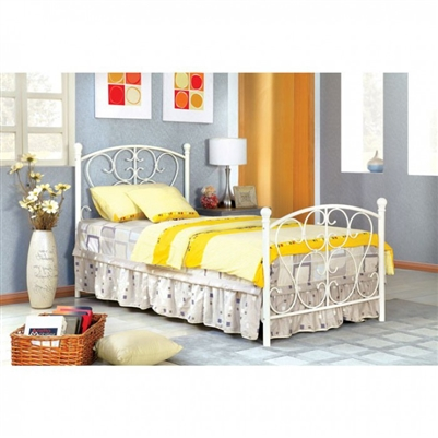Alice Twin Bed in White Finish by Furniture of America - FOA-CM7706WH-B