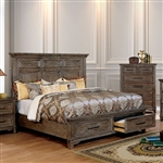 Oberon Bed in Rustic Oak Finish by Furniture of America - FOA-CM7845-B