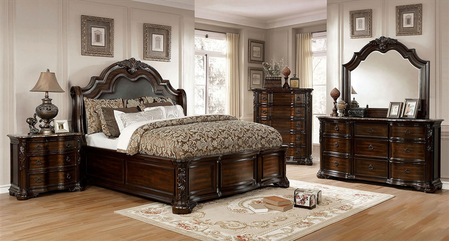Niketas 6 Piece Bedroom Set in Brown Cherry/Espresso Finish by Furniture of  America - FOA-CM7860