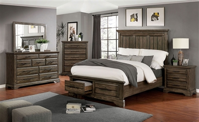 Amarillo 6 Piece Bedroom Set in Light Walnut Finish by Furniture of America - FOA-CM7896