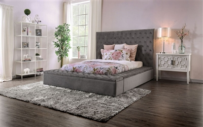 Davida Bed in Gray Finish by Furniture of America - FOA-CM7897GY-B