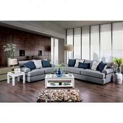 Gilda 2 Piece Sofa Set in Gray by Furniture of America - FOA-SM1271