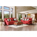 Rena 2 Piece Sofa Set in Red by Furniture of America - FOA-SM1277