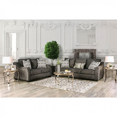 Coralie 2 Piece Sofa Set in Charcoal by Furniture of America - FOA-SM2012