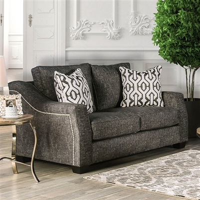 Coralie Love Seat in Charcoal by Furniture of America - FOA-SM2012-LV