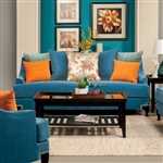 Vincenzo Love Seat in Peacock Blue by Furniture of America - FOA- SM2203-LV