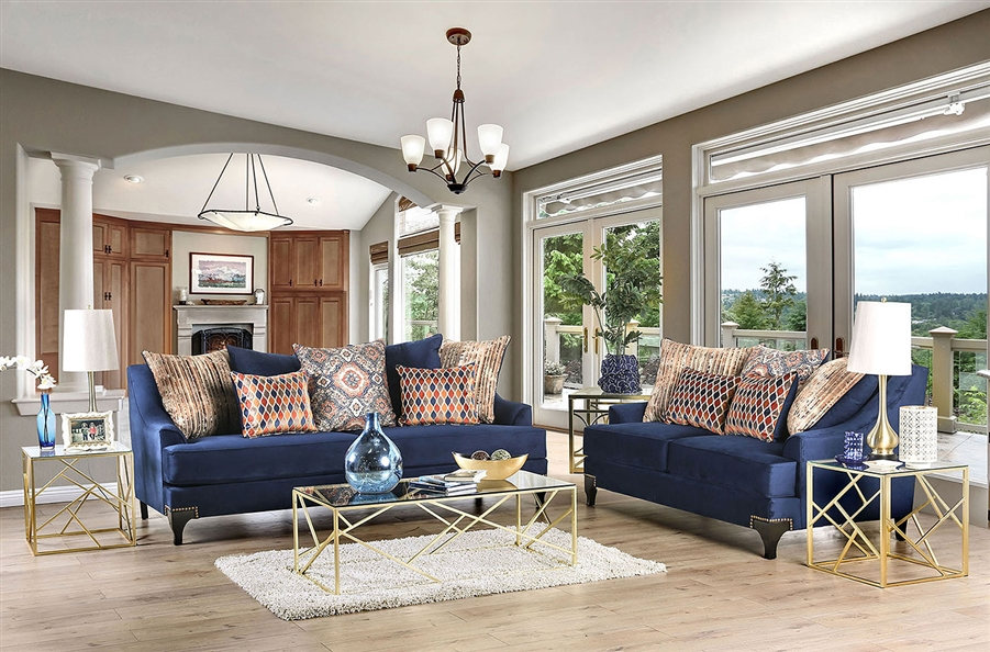 Sisseton 2 Piece Sofa Set in Navy by Furniture of America - FOA-SM2210