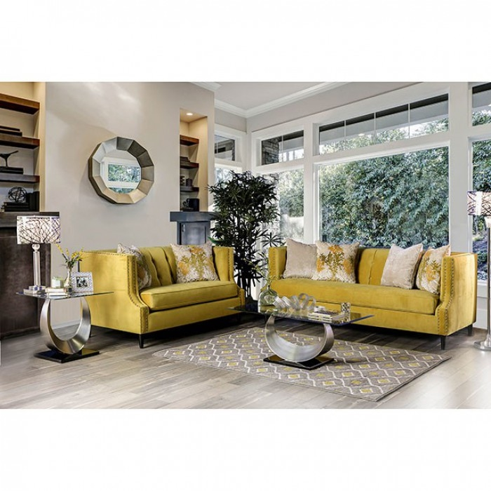 Tegan 2 Piece Sofa Set in Royal Yellow by Furniture of America - FOA-SM2216