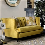 Tegan Love Seat in Royal Yellow by Furniture of America - FOA-SM2216-LV