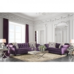 Antoinette 2 Piece Sofa Set in Purple by Furniture of America - FOA-SM2222