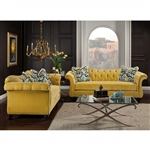 Antoinette 2 Piece Sofa Set in Yellow by Furniture of America - FOA-SM2223