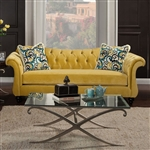 Antoinette Sofa in Yellow by Furniture of America - FOA-SM2223-SF