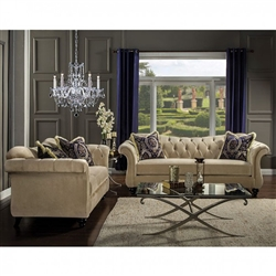 Antoinette 2 Piece Sofa Set in Light Mocha by Furniture of America - FOA-SM2224