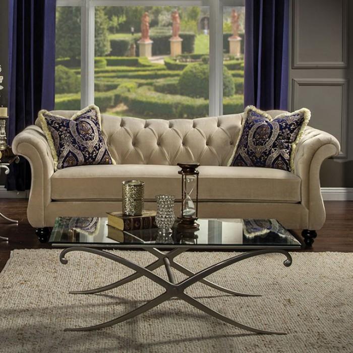 Fabulous Antoinette Sofa In Light Mocha By Furniture Of America Foa Sm2224 Sf Download Free Architecture Designs Intelgarnamadebymaigaardcom