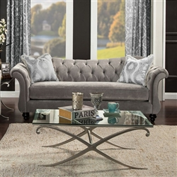 Antoinette Sofa in Dolphin Gray by Furniture of America - FOA-SM2225-SF