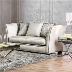 Alessandra Love Seat in Silver by Furniture of America - FOA-SM2288-LV