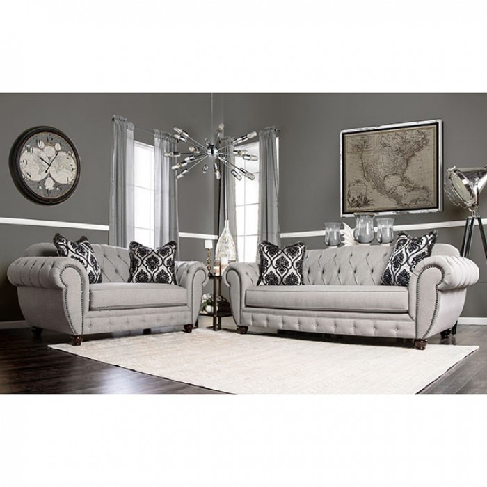 Viviana 2 Piece Sofa Set in Gray by Furniture of America - FOA-SM2291