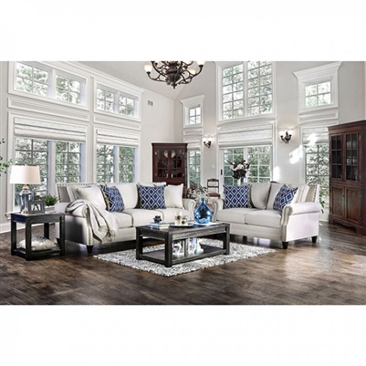 Giovanni 2 Piece Sofa Set in Ivory by Furniture of America - FOA-SM2672