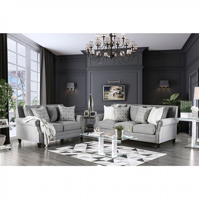 Giovanni 2 Piece Sofa Set in Gray by Furniture of America - FOA-SM2673